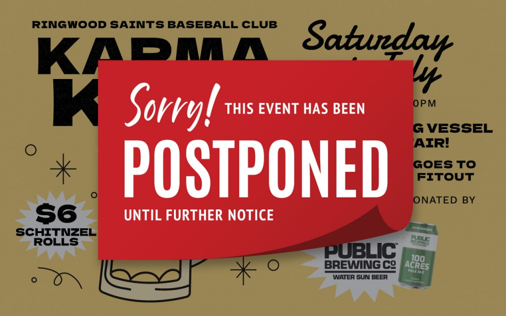 Karma Keg - POSTPONED! @ Ringwood Saints Baseball Club